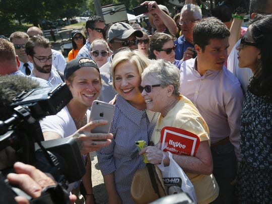 Democratic presidential candidate Hillary Rodham Clinton greets fairgoers during a visit to the Iowa State Fair, Saturday, Aug. 15, 2015, in Des Moines, Iowa.