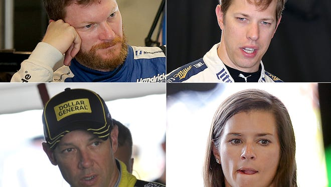 Dale Earnhardt Jr. (upper left) notes his early athletic prowess. Brad Keselowski (upper right) is an 'actor.' Matt Kenseth (lower left) greatly affected how a champion is crowned. Danica Patrick (lower right) stands on her head.
