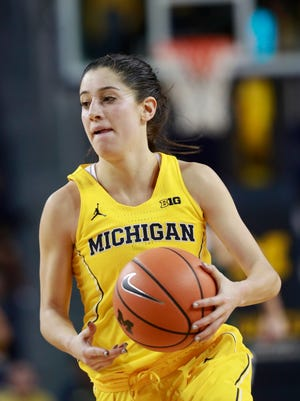 Michigan guard Katelynn Flaherty brings the ball up court during the second half of an NCAA college basketball game against Michigan State, Tuesday, Jan. 23,2018, in Ann Arbor. She hopes to lead her team to a Big Ten tourney title.