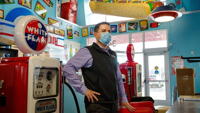 Portillo's Director of New Restaurant Openings, Jeff Deppe, answers questions about the chain's new Springfield restaurant during a media tour Tuesday, Nov. 10, 2020. The restaurant will open Dec. 8, 2020.