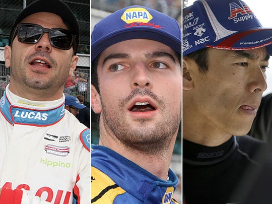 Oriol Servia (from left), Alexander Rossi and Takuma Sato.