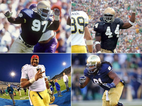 Bryant Young (top left), Stephen Tuitt (bottom left), Justin Tuck (top right) and Sheldon Day (bottom right).