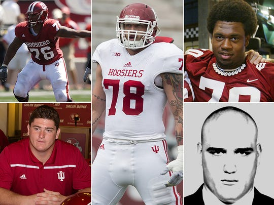 Rodger Saffold (top left), Dan Feeney (bottom left), Jason Spriggs (center), Enoch DeMar (top right), Chris Liwienski (bottom right).