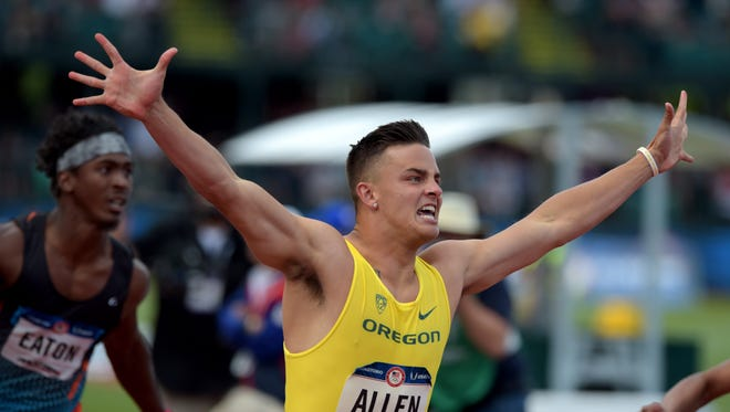 Jul 9, 2016; Eugene, OR, USA; Devon Allen reacts after winning the men's 110m hurdles in the 2016 U.S. Olympic track and field team trials at Hayward Field. Mandatory Credit: Glenn Andrews-USA TODAY Sports