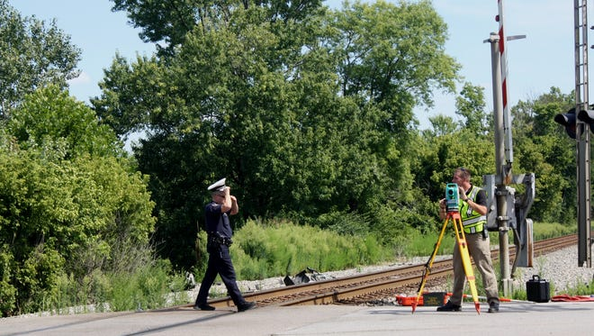 West Chester Township police investigate a crash involving a train on Tuesday afternoon.