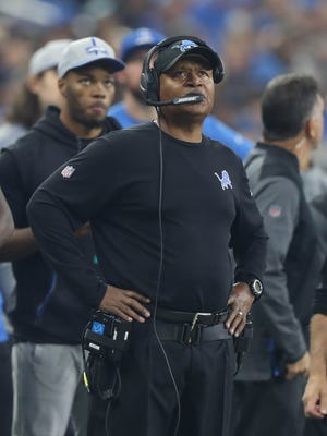 Jim Caldwell on the sideline in the third quarter of the Lions' 30-23 loss to the Vikings at Ford Field on Nov. 23.
