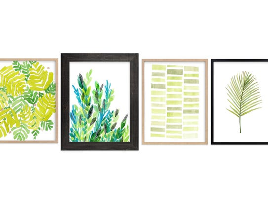 These prints from minted.com come in shades of Greenery.