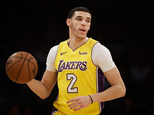 Los Angeles Lakers' Lonzo Ball dribbles the ball during