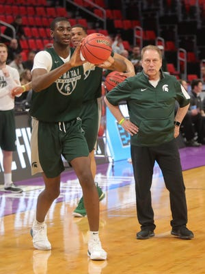 Michigan State coach Tom Izzo watches Jaren Jackson Jr. practice for the first-round NCAA tournament game on Thursday, March 15, 2018, at Little Caesars Arena.
