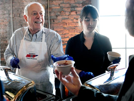 U.S. Senate candidate and former Tennessee Gov. Phil Bredesen serves chili to supporters during a campaign event at ACME Feed & Seed on Saturday, March 3, 2018.