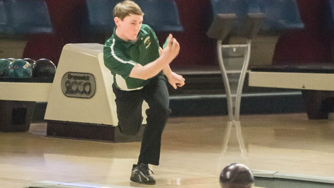 Pennfield freshman James Ruoff during the All-City Bowling Meet on Dec. 10, 2015.