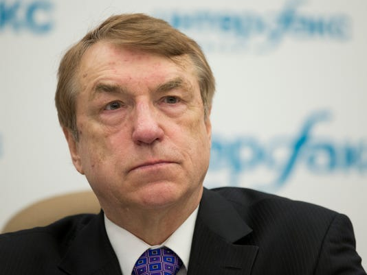 Ivars Kalvinsin, Latvian chemist and the inventor of meldonium, trade-named Mildronat, a full member of the Latvian Academy of Sciences, speaks to the media  Moscow, Russia, Monday, April 18, 2016. Meldonium was banned for 2016, prompting at least 172 failed tests worldwide. Many athletes who tested positive had argued they stopped taking Meldonium, which is typically recommended for heart disease patients, before it was banned. (AP Photo/Alexander Zemlianichenko)