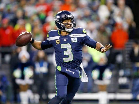 Dec 23, 2018; Seattle, WA, USA; Seattle Seahawks quarterback Russell Wilson (3) passes against the Kansas City Chiefs during the second quarter at CenturyLink Field. Mandatory Credit: Joe Nicholson-USA TODAY Sports