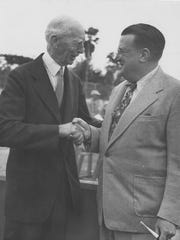 Philadelphia Athletics manager/owner Connie Mack, left, with Brooklyn Dodgers owner Walter O'Malley.