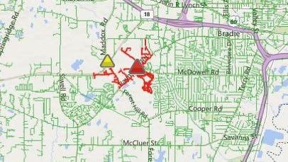 Entergy website shows power outage in Southwest Jackson.