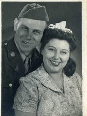One of the photos of Army Pvt. Harry V. Nourse kept in a small leather wallet that was found among recycled waste at Garten Services. This one is of him and his wife, Nita.