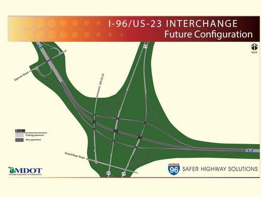 The future configuration of the I-96/US-23 interchange.