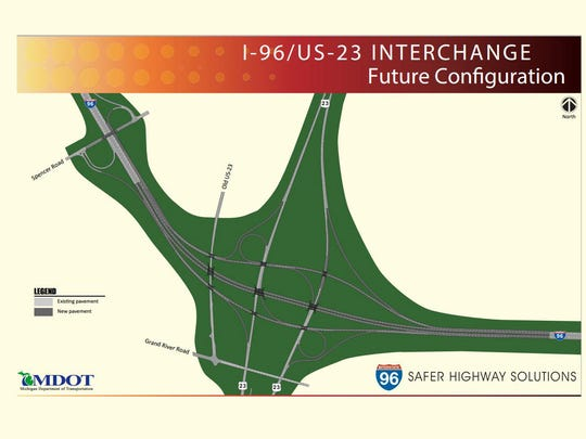 The future configuration of the I-96/US-23 interchange.