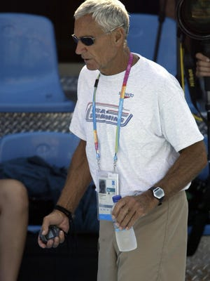 Former Michigan swimming coach Jon Urbanchek at the Athens Olympic Games in 2004.