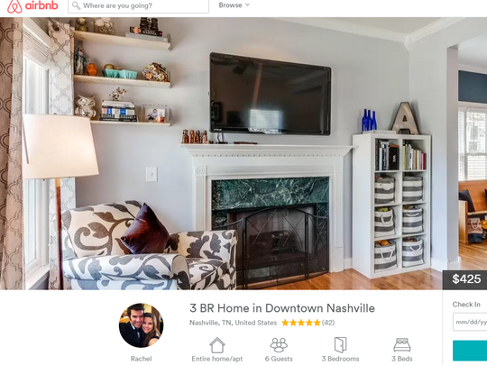 P.J. and Rachel Anderson's Airbnb listing for their Salemtown home in Nashville. The couple is suing Metro government, saying the ordinance regulating their rental is unfair.