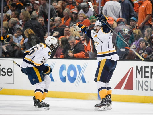 fb1df49be latimes.com James Neal lifts Predators past Ducks in OT of Game 1 of West  final