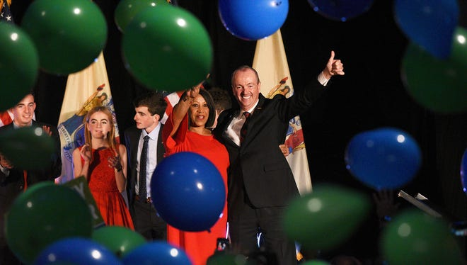 NJ gubernatorial candidate Phil Murphy and Lt. Governor Sheila Oliver celebrates his victory with supporters after the polls close on election night after defeating his opponent, Lt. Governor Kim Guadagno. Murphy celebrates at the Convention Center in Asbury Park, NJ on Tuesday, November 7, 2017.