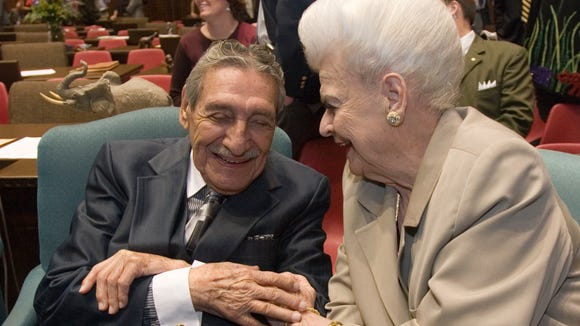 Former governors Raul Castro and Rose Mofford chat