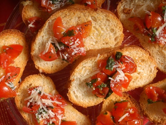 Tomato and basil bruschetta is a tasty snack.
