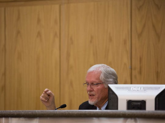 """Billy Garrett, commissioner for District 3, speaks about the Facebook posts and messages between County Commissioner John Vasquez and NM CAFé Organizer Johana Bencomo on Thursday January 25, 2018.Garrett was the lone commissioner who addressed the issue, calling for an """"affirmative statement"""" from the commission"""