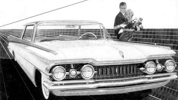 """Autmotive design reached its Space-Age styling peak in 1959, as witnessed by Oldsmobile's """"Linear Look"""" and """"Vista-Panoramic Windshield."""""""