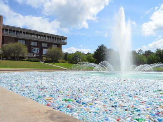 The bottles had been collected from around campus by