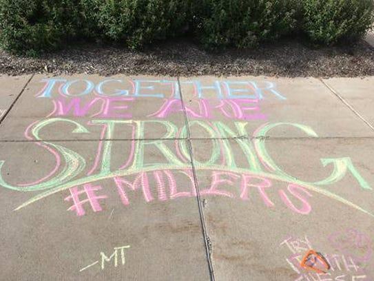 Encouraging chalk art lined the sidewalks around Noblesville