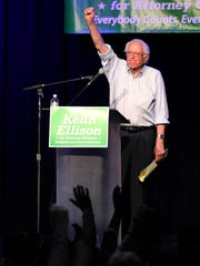 U.S. Sen. Bernie Sanders shows his support for Rep. Keith Ellison's bid for Minnesota Attorney General at a rally at First Avenue Friday, July 13, 2018, in Minneapolis. Sanders visited Minnesota on Friday to headline a pair of rallies for Ellison's campaign.