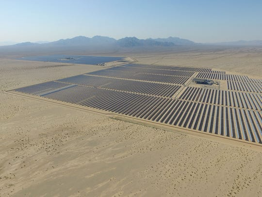 The Genesis solar project spans nearly 2,000 acres of federal land about 25 miles west of Blythe, California on June 22, 2016.