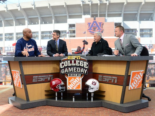 Charles Barkley, Chris Fowler, Lee Corso and Kirk Herbstreit on the set of ESPN College GameDay set at the 2013 Iron Bowl.