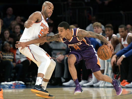 Phoenix Suns guard Tyler Ulis, right, holds off New York Knicks guard Jarrett Jack (55) during the second quarter of an NBA basketball game Friday, Nov. 3, 2017, at Madison Square Garden in New York. (AP Photo/Bill Kostroun)