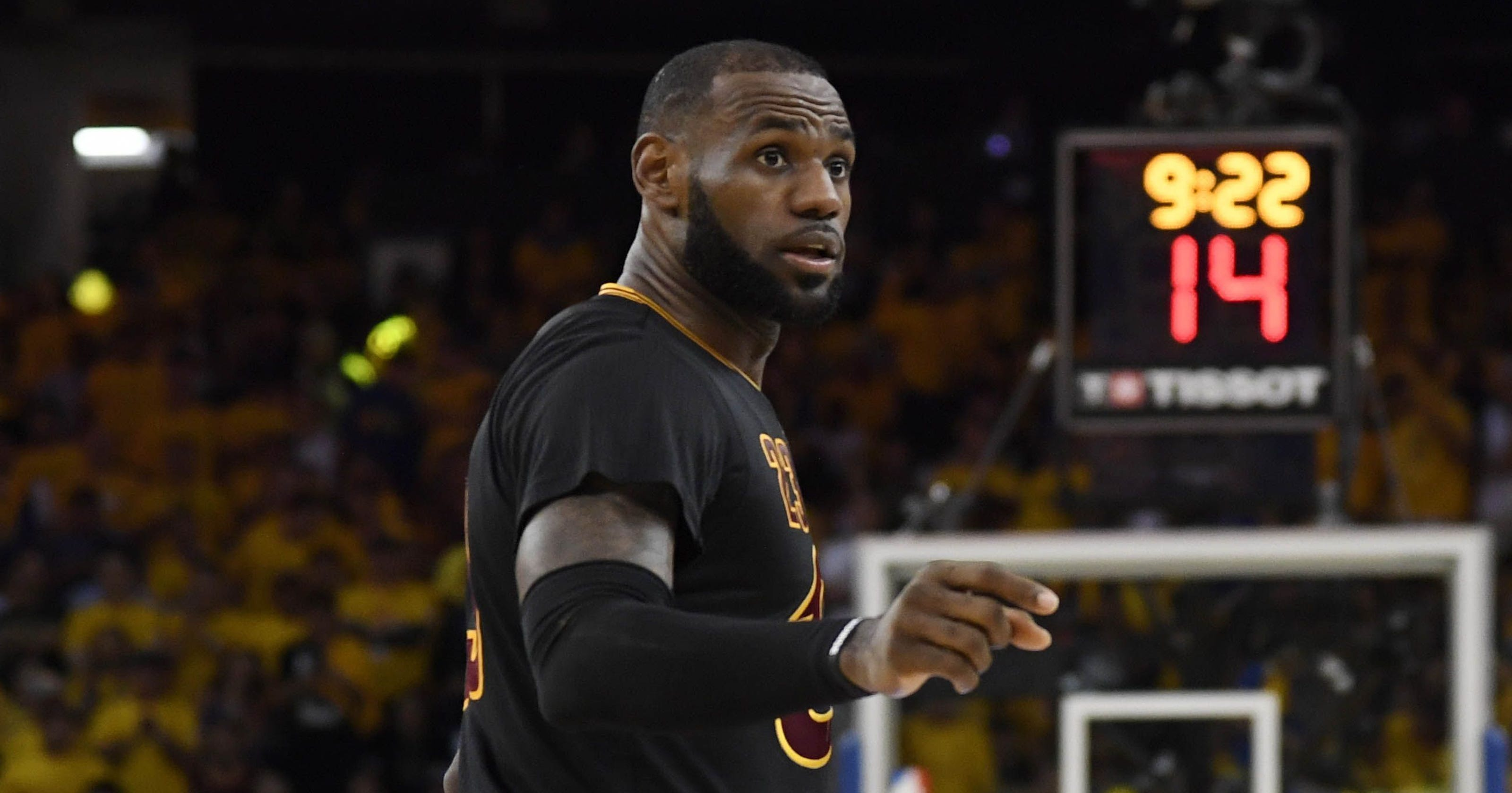 LeBron James pushed out of the way of brawl after Cavs  Game 2 loss d3c1a3c0b