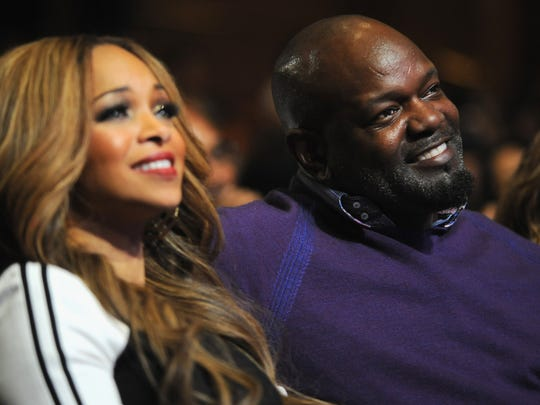 Former NFL player Emmitt Smith and his wife, Patricia Smith, attend the 16th Annual Super Bowl Gospel Celebration on Jan. 30, 2015, in Tempe, Arizona.