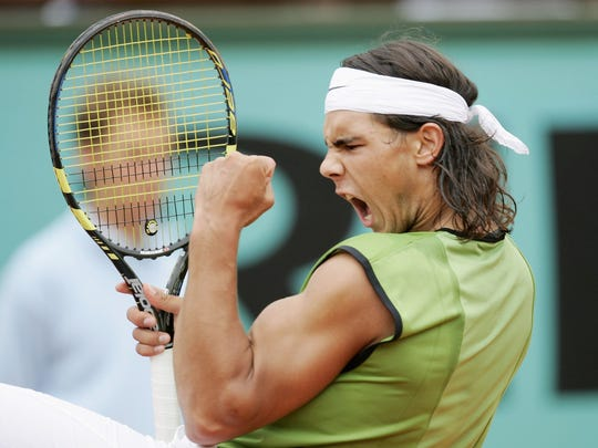 Rafael Nadal of Spain celebrates a point during the
