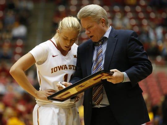 Iowa State guard Jadda Buckley (11) gets instructions