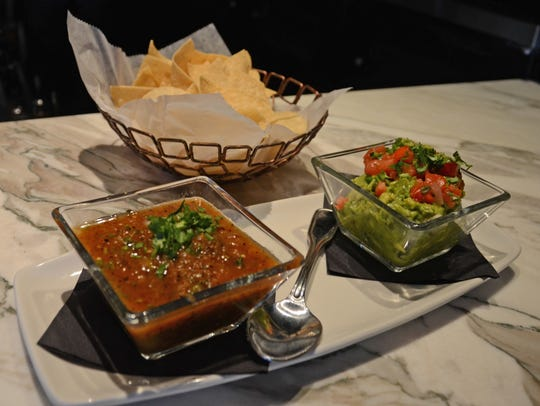 Chips, salsa and guacamole appetizer at The Vig in