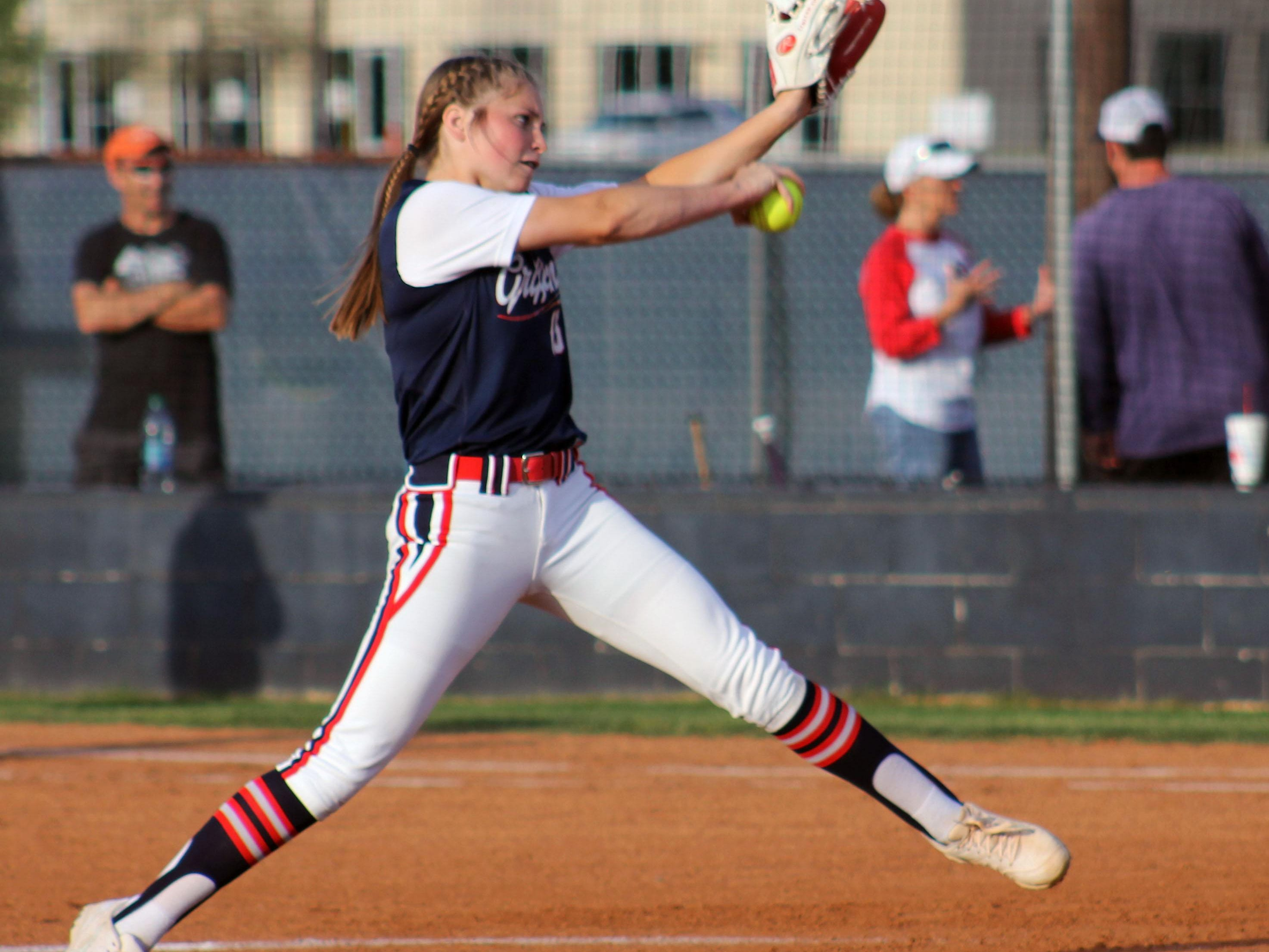 North DeSoto pitcher EC Delafield throws a pitch during Thursday's game.