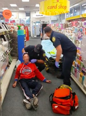 A video filmed on Oct. 11, 2017 at the CVS on Gratiot and Eight Mile shows a man being revived after overdosing.