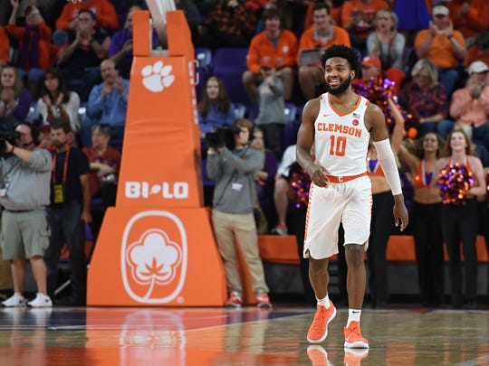 Clemson guard Gabe DeVoe (10) smiles after scoring against Notre Dame during the 1st half on Saturday, January 20,  2018 at Clemson's Littlejohn Coliseum.