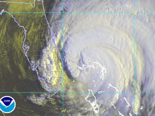 Hurricane Frances is shown in this NOAA close-up false color satellite image