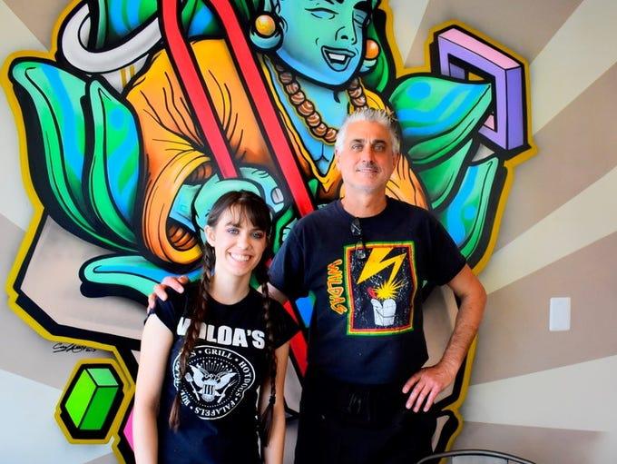Iris Speers, left, stands next to her father Bret Speers,