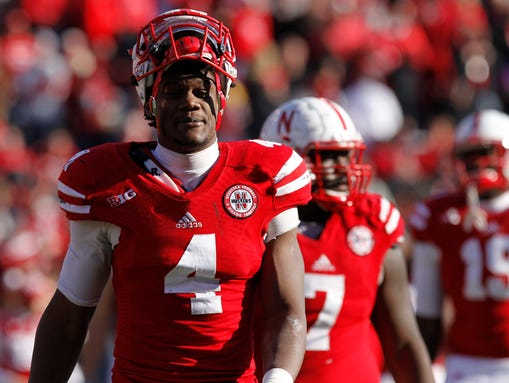 Nebraska defensive end Randy Gregofy (4) leaves the