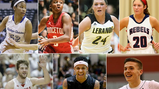 Top row (from left to right): Tyasha Harris, Jackie Young, Kristen Spolyar and Lindsey Corsaro. Bottom row: Joey Brunk, C.J. Walker and Kyle Guy.