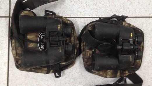 Border Patrol agents seized binoculars and other gear after arresting migrants near Yuma on Dec. 5, 2017.