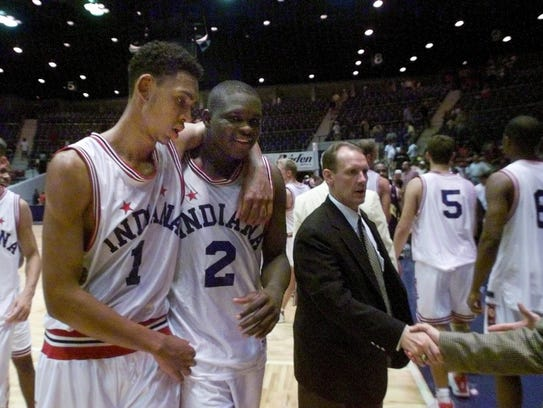 Indiana All-Stars Jared Jeffries left and Zach Randolph